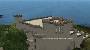 ariel view of Castle showing Flag with Clan Tartan patterns on it.