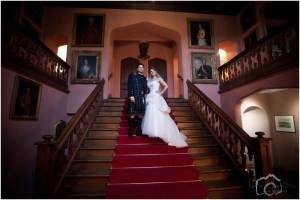 Beautiful wedding photos on the stairs!