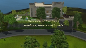 overview of front with windows, towers and turrets