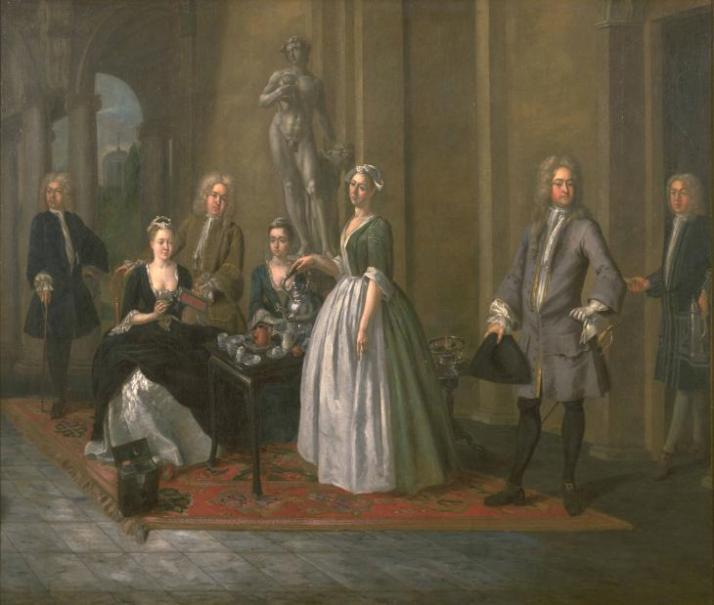 An English Family at Tea by Joseph van Aken