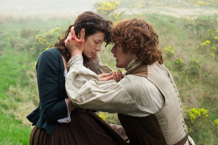 Jamie and Claire after a rough day