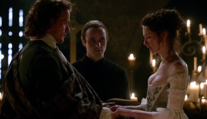 the priest eying Claire's assets