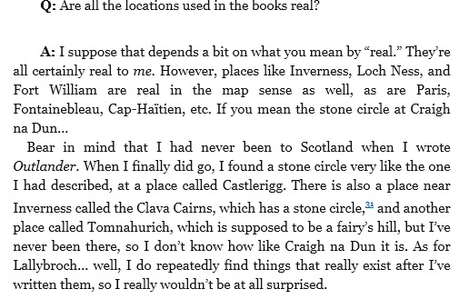 excerpt from Outlandish Companion regarding whether craigh na dun is a real location.