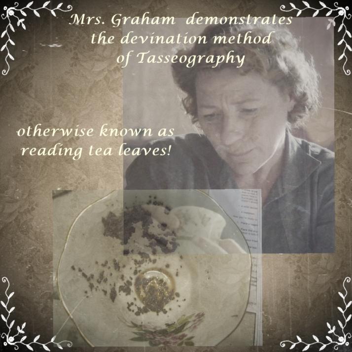 Mrs graham demonstrates tea leaf reading