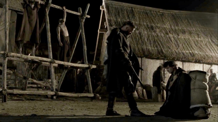 Athelstan stops and kneels