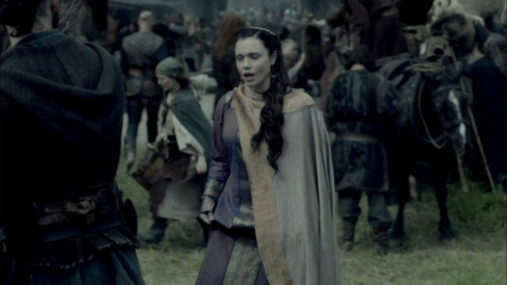 lady Judith enters and makes her play for Athelstan in a chastely religious manner