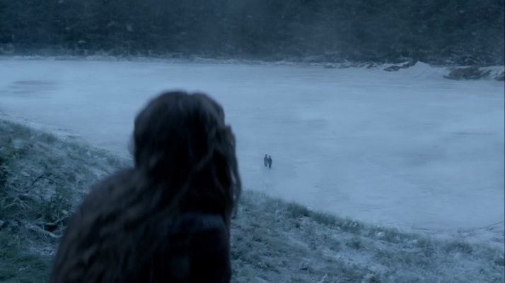 she arrives at the frozen lake and finds the boys out there