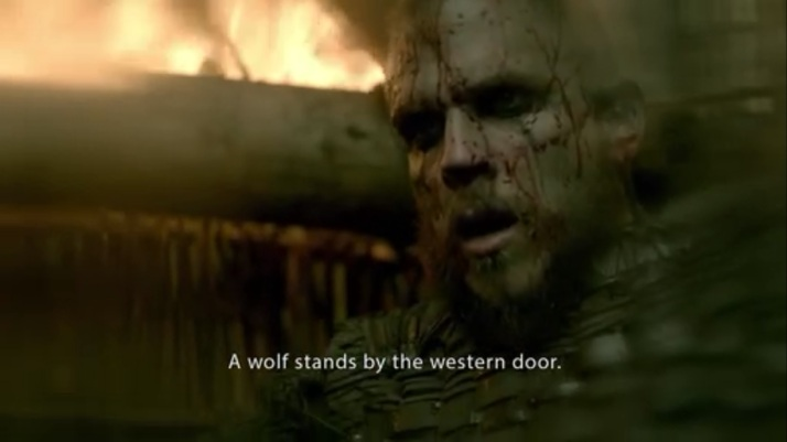 floki  a wolf stands by the western door
