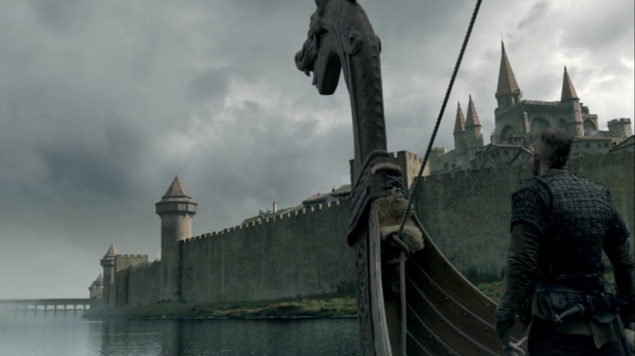 floki and his dragon boat approach the walls
