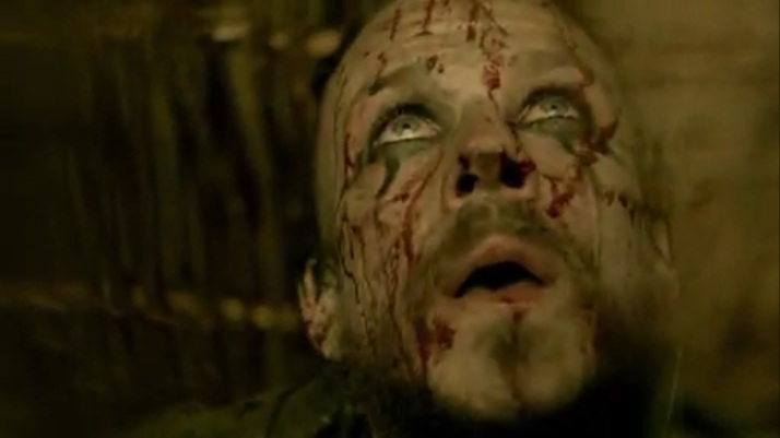 floki can not slit his throat but watches as a body on fire descends on him