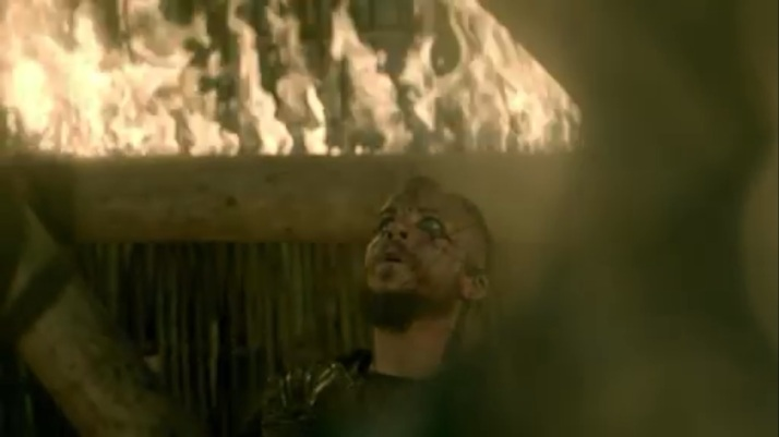 floki inside the tower while it burns
