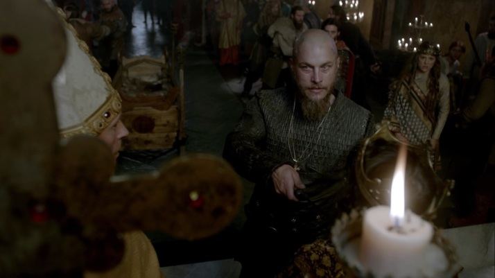 ragnar eyes the bishop who told him he would go to hell