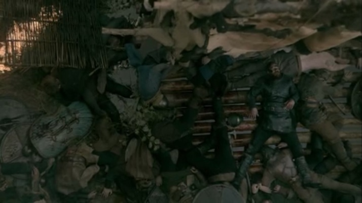 Ragnar falls not into the water to be reborn anew no he lands on top of all his dead men