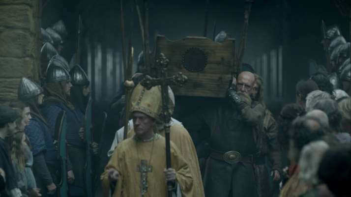 ragnar's christian conversion is marched through the streets of paris for all to see and celebrate