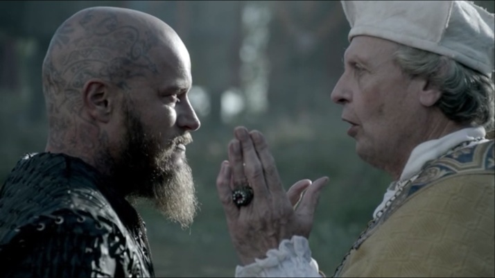 with no other choice the bishop baptizes ragnar