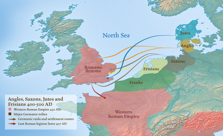 Angles-Saxons-Jutes-&-Frisians during roman occupation of Britannia   map