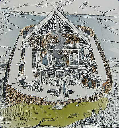 Cutaway showing what a broch may have looked like, based on a drawing by Alan Braby.