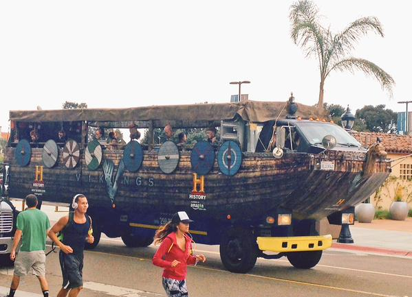 viking longboat bus at comicon