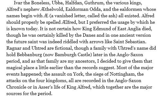 Bernard cornwell historical notes for Last kingdom