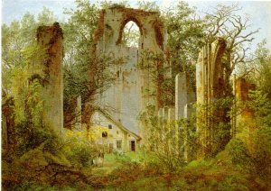 Eldena Abbey, a favourite motif of Caspar David Friedrich. Medieval Pomeranian monasteries, owners of vast areas, ensured the conversion of Pomerania and contributed to Ostsiedlung.