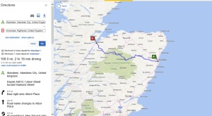 map and directions from aberdeen to Inverness