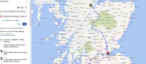 map and directions from inverness to edinburgh