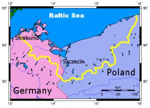 Pomeraniamap early border superimposed in yellow on modern Germany and Poland