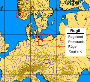 Settlement areas of the Rugii Rogaland Pomerania since the 1st century Rugiland 5th century Rügen