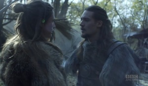 Brida to Uhtred: I am thinking you have a turd for a brain