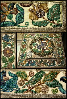 medieval stitchery with beadwork