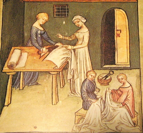 medieval women sewing 3