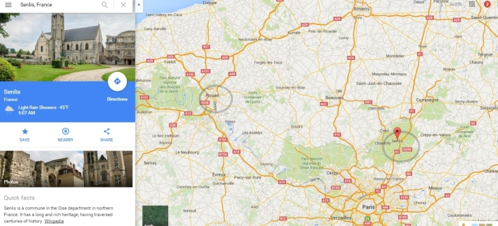 Senlis on map with Rouen and Paris