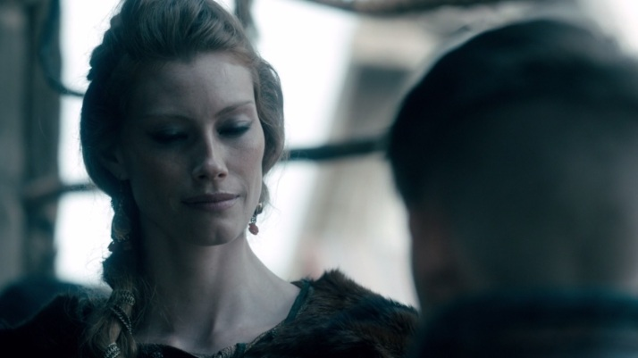 aslaug tries to fake it... her thought no I don't care I was hoping he wouldn't wake up...