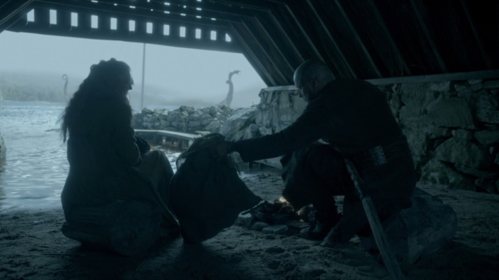 ragnar does take pity on helga and leaves a bag of food for her