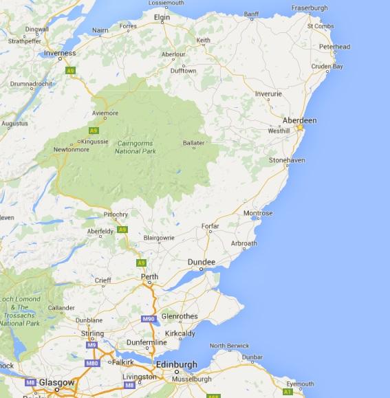map showing Aberdeen