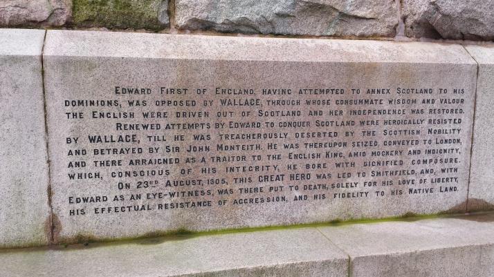 William Wallace monument inscription 1